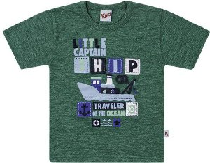 Camiseta Infantil Menino Verde Little Captain