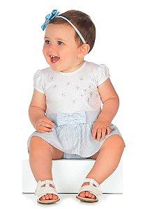 Body Bebê Vestido Manga Curta Menina Algodão Paraíso