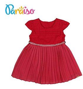 Vestido Bebê Festa Infantil Crepe Plissado Paraíso