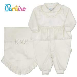 Saída Maternidade Menina Organza Bordada Paraíso