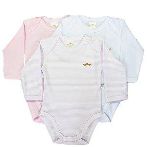 Kit body bebê 3 Peças Manga Longa Listras Rosa Claro Best Club