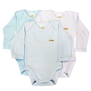 Kit body bebê 3 Peças Manga Longa Listras Azul Claro Best Club