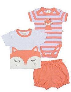 Kit body bebê Best Club 3 peças Shorts Camiseta Gatinha Salmão