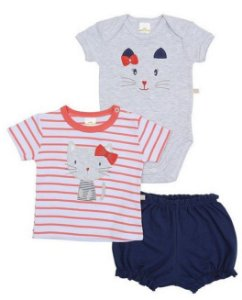Kit body bebê 3 peças Shorts Camiseta Gatinha Marinho Best Club