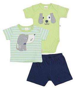 Conjunto Body Camiseta Shorts Cachorrinho Menino Best Club 3 peças
