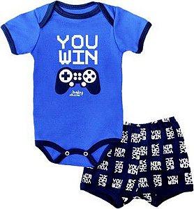 Kit body bebê 2 Peças Manga Curta You Win Baby Duck