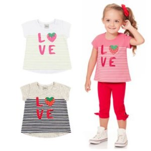 Camiseta Infantil Menina Love Moranguinho Rosa Kiko e Kika