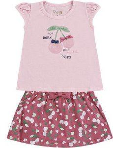 Conjunto Infantil Bebê Menina Camiseta Saia Cherry Rosa Kiko e Kika