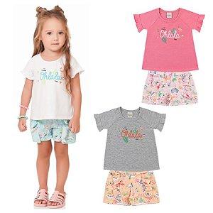 Conjunto Infantil Menina Camiseta Shorts Aloha Branco Kiko e Kika