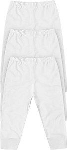 Calça Bebê Mijão Kit 3 Peças Branco Algodão Kiko Baby