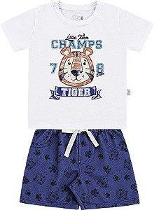 Conjunto Bebê Menino Camiseta Bermuda Moletom Tigre Branco Kiko e Kika