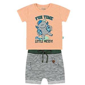 Conjunto Bebê Menino Camiseta Bermuda Moletom Fun Time Kiko e Kika