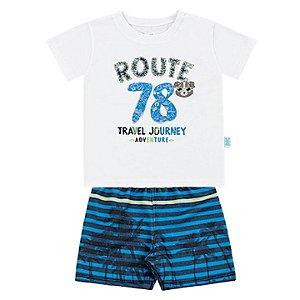 Conjunto Bebê Menino Camiseta Bermuda Moletom Route Branco Kiko e Kika