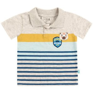 Camiseta Infantil Bebê Gola Polo Ursinho Cinza Mescla Kiko e Kika