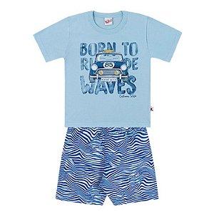 Conjunto Menino Infantil Camiseta Bermuda Tactel Waves Azul Kiko e Kika
