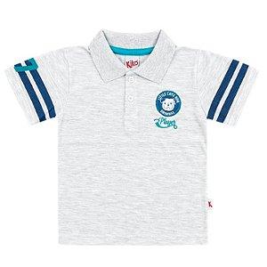 Camiseta Polo Infantil Menino Cachorrinho Cinza Mescla Kiko e Kika