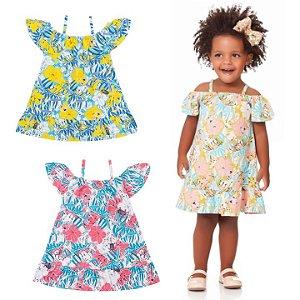 Vestido Infantil Ciganinha Tropical Flores Kiko e Kika