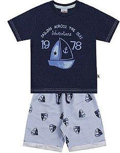 Conjunto Infantil Menino Camiseta Bermuda Moletom Sailling Marinho Kiko e Kika