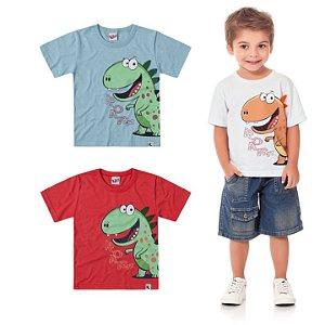 Camiseta Infantil Menino Dinossauro Branca Kiko e Kika