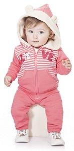 Conjunto de Moletom Bebê Menina Peluciado Casaco Calça Kiko Baby