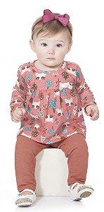 Conjunto Longo Menina Bata Algodão Legging Rosa Kiko Baby