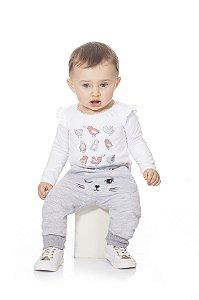 Calça Moletom Bebê Peluciado Menina Gatinha Kiko Baby