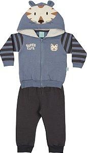 Conjunto de Moletom Bebê Menino Peluciado Calça e Casaco Azul Kiko Baby