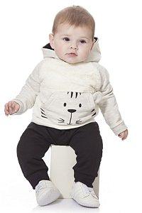 Moletom Conjunto Bebê Menino Peluciado Calça e Casaco Tigrinho Kiko Baby