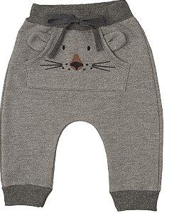 Calça Moletom Bebê Peluciado Menino Tigrinho Cinza Kiko Baby