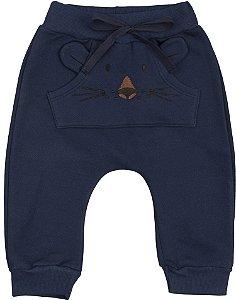 Calça Moletom Bebê Peluciado Menino Tigrinho Azul Marinho Kiko Baby