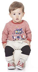 Calça Moletom Bebê Peluciado Menino Listra Kiko Baby