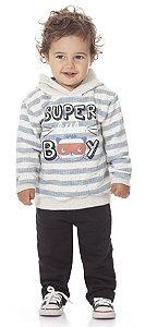 Conjunto de Moletom Infantil Menino Peluciado Calça e Casaco Super Boy Kiko Baby