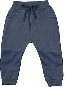 Calça Moletom Bebê Peluciado Menino Azul Jeans Kiko Baby