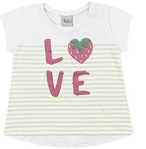 Camiseta Infantil Menina Love Moranguinho Branca Kiko e Kika