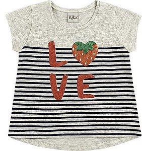 Camiseta Infantil Menina Love Moranguinho Cinza Kiko e Kika