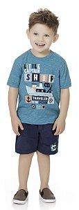 Camiseta Menino Infantil Little Captain Azul Claro Kiko e Kika
