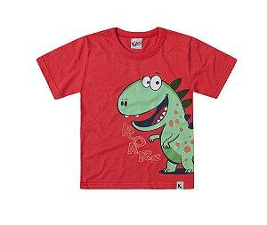 Camiseta Infantil Menino Dinossauro Vermelha Kiko e Kika