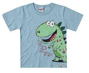 Camiseta Infantil Menino Dinossauro Azul Kiko e Kika
