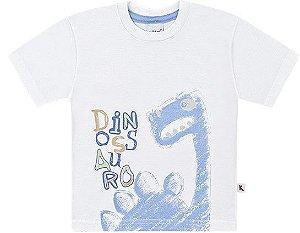 Camiseta Infantil Menino Super Dino Algodão Branca Kiko e Kika