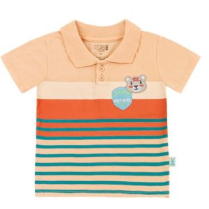 Camiseta Infantil Bebê Gola Polo Ursinho Salmão Kiko e Kika