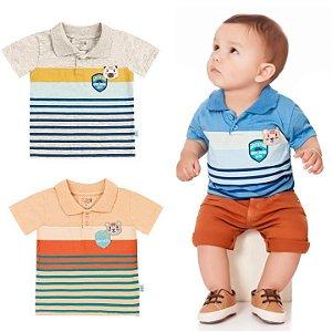Camiseta Polo Bebê Ursinho Algodão Azul Claro Kiko e Kika