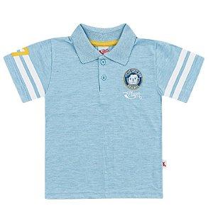 Camiseta Polo Infantil Menino Cachorrinho Azul Clara Kiko e Kika