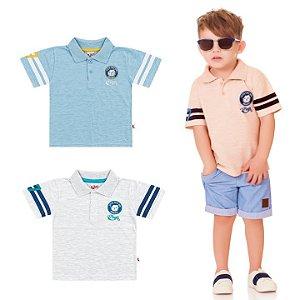 Camiseta Polo Infantil Menino Cachorrinho Laranja Kiko e Kika