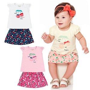 Conjunto Infantil Bebê Menina Camiseta Saia Cherry Amarelo Kiko e Kika