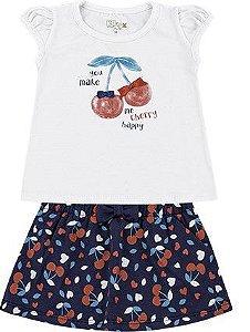 Conjunto Infantil Bebê Menina Camiseta Saia Cherry Branco e Azul Kiko e Kika