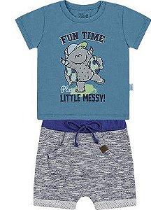 Conjunto Bebê Menino Camiseta Bermuda Moletom Fun Time Azul Kiko e Kika