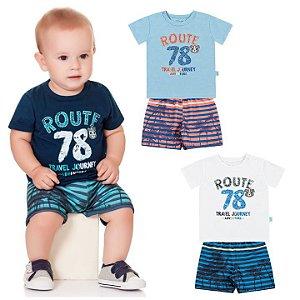 Conjunto Bebê Menino Camiseta Bermuda Moletom Route Marinho Kiko e Kika