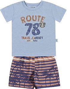 Conjunto Bebê Menino Camiseta Bermuda Moletom Route Azul Claro Kiko e Kika