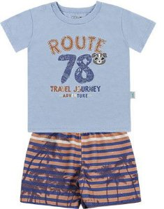 Conjunto Infantil Bebê Menino Camiseta Bermuda Moletom Route Azul Claro Kiko e Kika