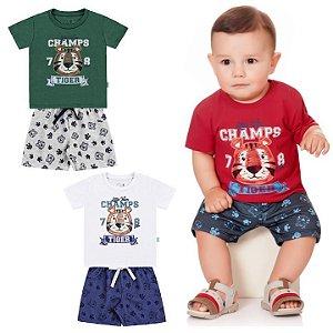 Conjunto Bebê Menino Camiseta Bermuda Moletom Tigre Vermelho Kiko e Kika